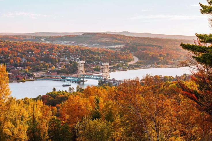 The Keweenaw's gateway towns of Houghton and Hancock, Michigan, line the Portage Canal.  Photo by: Bob Stefko (Midwest Living)