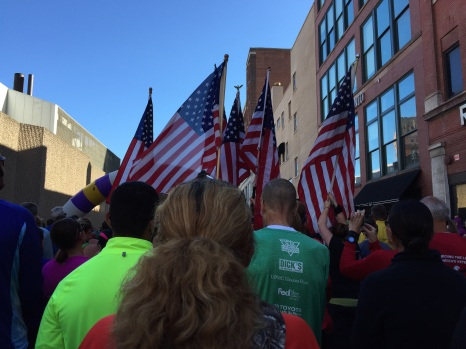 Flags from Team RWB waiting for the 5k start